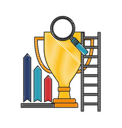 trophy cup with magnifying glass and set icons vector image