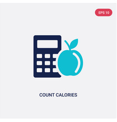 Two color count calories icon from general vector