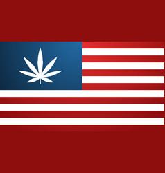 usa flag with marijuana leaf cannabis legalization vector image
