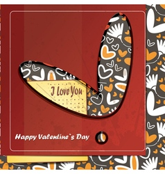 Valentine day card with flowers and hearts vector