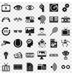video icons set simple style vector image