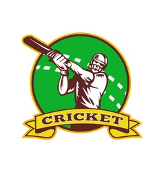 Vintage cricket emblem vector