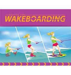 Wakeboarding start in water vector