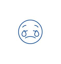 weeping emoji emoji line icon concept weeping vector image