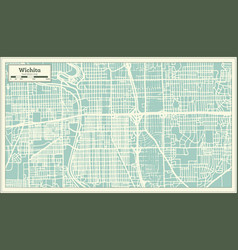 Wichita kansas usa city map in retro style vector