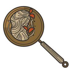 Wok or ramen noodles in frying pan with pepper vector