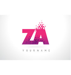 za z a letter logo with pink purple color and vector image