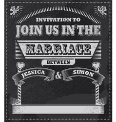 chalkboard wedding invitation vector image vector image
