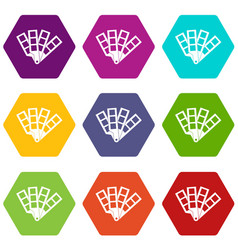 color palette guide icon set color hexahedron vector image vector image