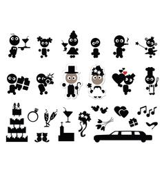 Doodles wedding set vector image vector image