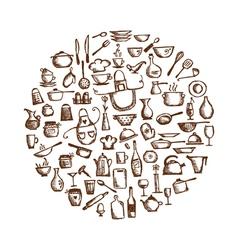 Kitchen utensils sketch drawing vector image