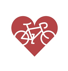 Bicycle in heart Flat icon vector image vector image