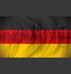 flag of germany with frankfurt skyline vector image vector image