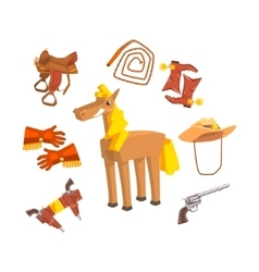 Horse Surrounded With Cowboy Disguise Related vector image