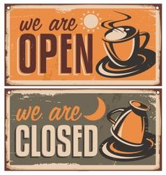 Retro door signs for coffee shop or cafe bar vector image vector image