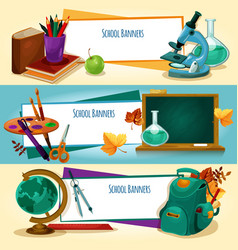 school supplies and stationery banners templates vector image