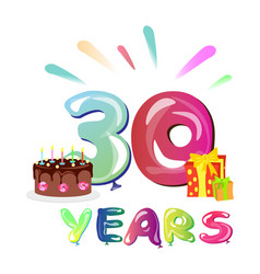 30 years anniversary with gift and cake vector image vector image