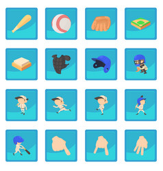 baseball items icon blue app vector image