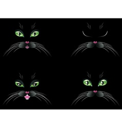 Black Cat Face with Green Eyes vector image vector image