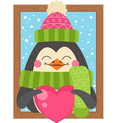 Cute cartoon penguin holding a heart funny winter vector image vector image