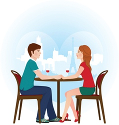 Lovers in cafe vector image vector image