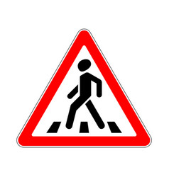 road sign warning crosswalk on white background vector image