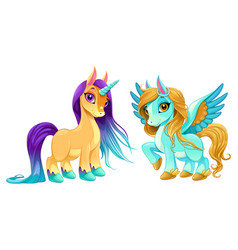 Baby unicorn and pegasus with cute eyes vector