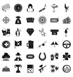 blackjack icons set simple style vector image vector image