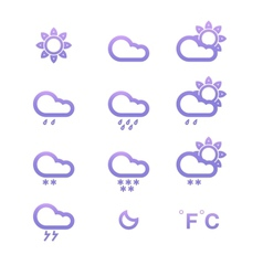 Color Weather conditon icons collection vector image