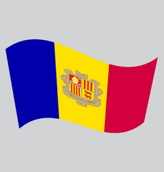flag of andorra waving on gray background vector image vector image