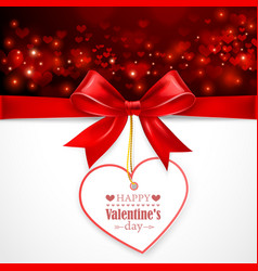 Red bow with heart vector image vector image