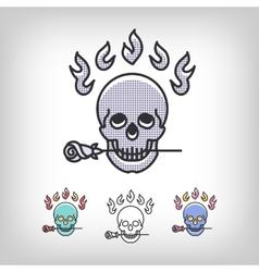 skull logotype design set line art icon vector image vector image