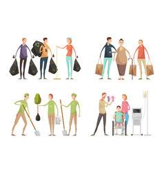 volunteering situations set vector image vector image