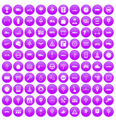 100 traffic icons set purple vector
