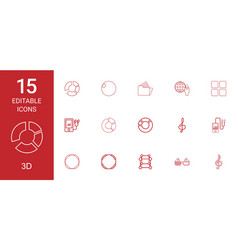 15 3d icons vector image