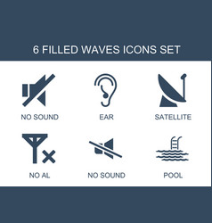 6 waves icons vector