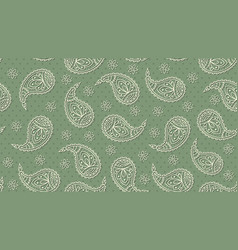 A green floral paisley pattern background vector