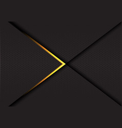 Abstract gold arrow on dark hexagon mesh vector