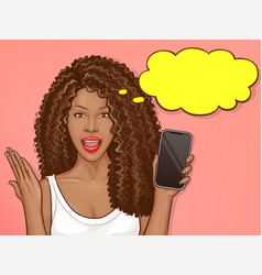African american woman holds smartphone vector