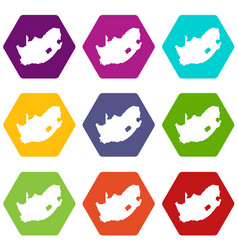 african map icons set 9 vector image