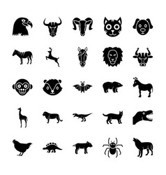 animals solid icons set vector image