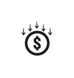 Arrow decrease icon dollar money fall down symbol vector
