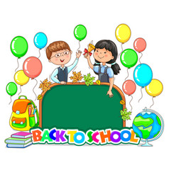 Back to school bright sign school board blank vector