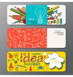 Banner set in doodle style with ideas vector