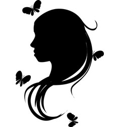 beautiful romantic girl or woman head silhouette vector image