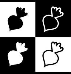 Beet simple sign black and white icons vector