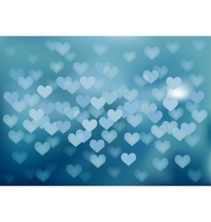 Blue festive lights in heart shape background vector image
