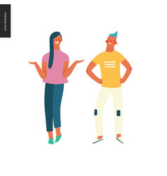 Bright people portraits - young man and woman vector