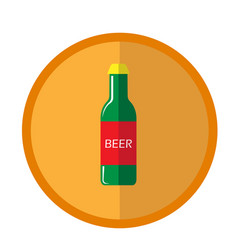 bright round with beer bottle vector image