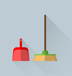 Broom and a scoop vector